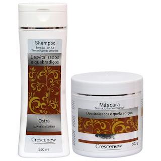 Kit shampoo e máscara hidratação capilar tratamento cabelos com ostras