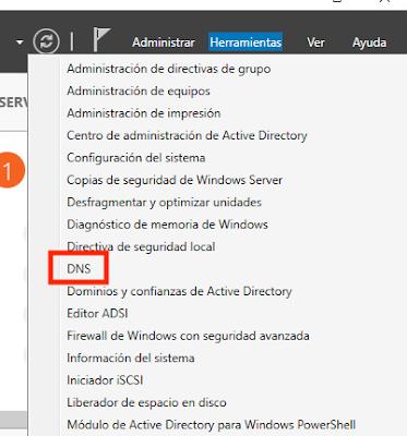 Acceso administrador de DNS desde herramientas.