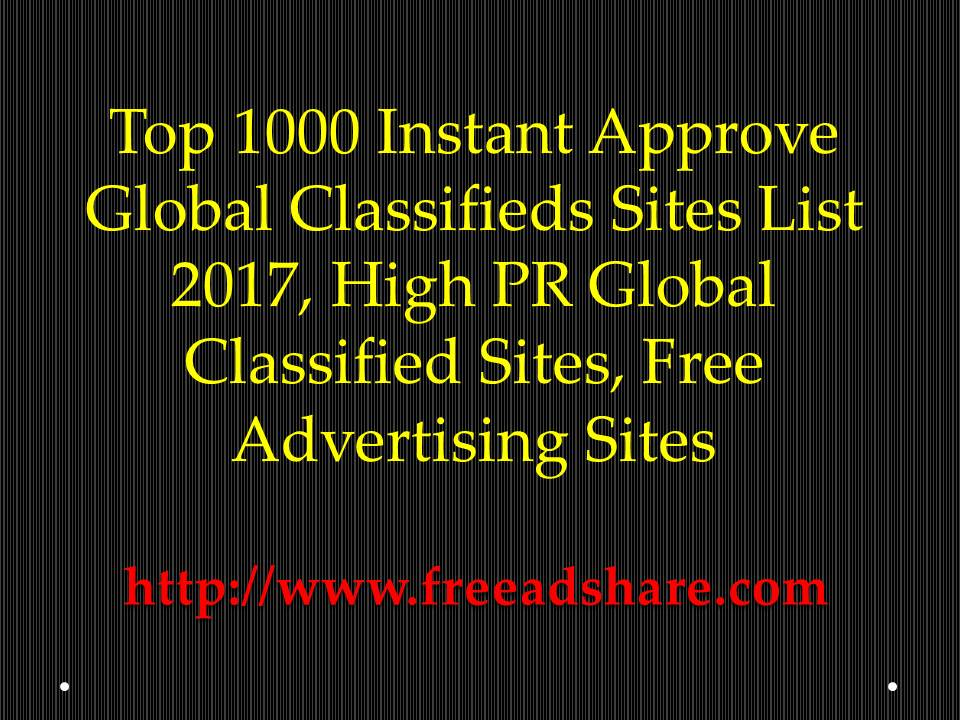 Top 1000 Instant Approve Global Classifieds Sites, Without