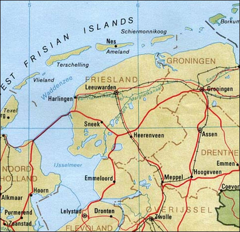 Kaart Friesland Kaart Friesland En Leeuwarden Nederland Vakantie
