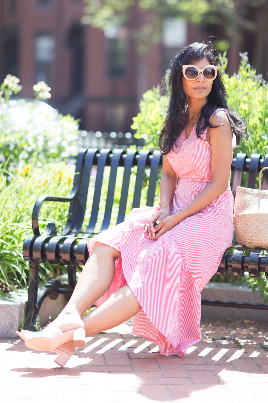 summer style, who what wear, pink, affordable style, petite fashion, petite style, boston blogger, boston style, july 4 outfit, feminine style, loft