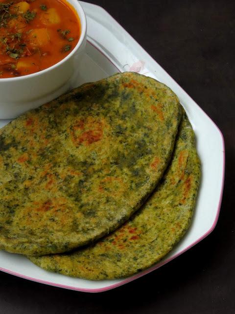 Palak Naan Bread, Spinach Naan