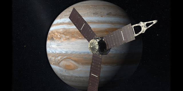 Launching from Earth in 2011, the Juno spacecraft will arrive at Jupiter in 2016 to study the giant planet from an elliptical, polar orbit. Credits: NASA/JPL-Caltech