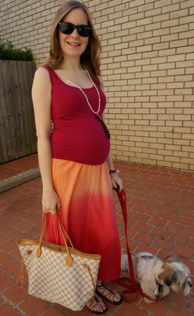 Pregnant australian blogger third trimester weekend outfit red singlet ombre maxi skirt LV NF