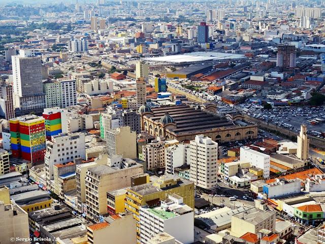 Cityscape com Mercado Municipal - Galeria Pagé - Feirinha da Madruga e Brás ao fundo - São Paulo