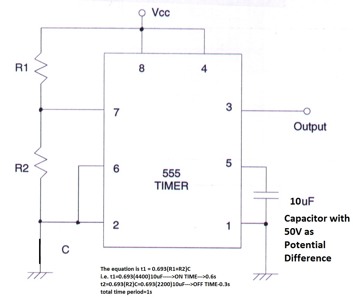 Sundars Tronix Lab Building A 1 Second Delay Timer Using Ic 555 Lm555 Circuits Fig 2
