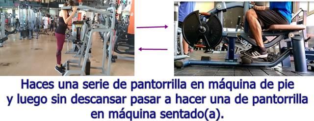 Biserie de los ejercicios flexión plantar de pie y sentado para pantorrillas