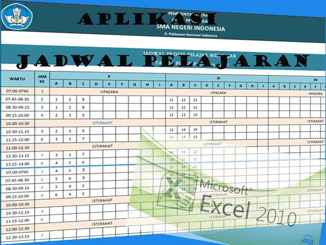 Aplikasi Pembuatan Jadwal Pelajaran SD SMP SMA .Excel 2016