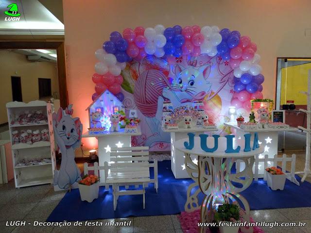 Decoração tema Gata Marie para festa infantil - Provençal simples