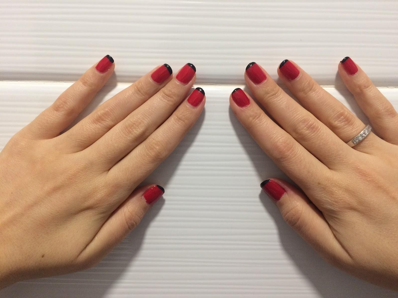 trendygirls10 manicura francesa negra y roja