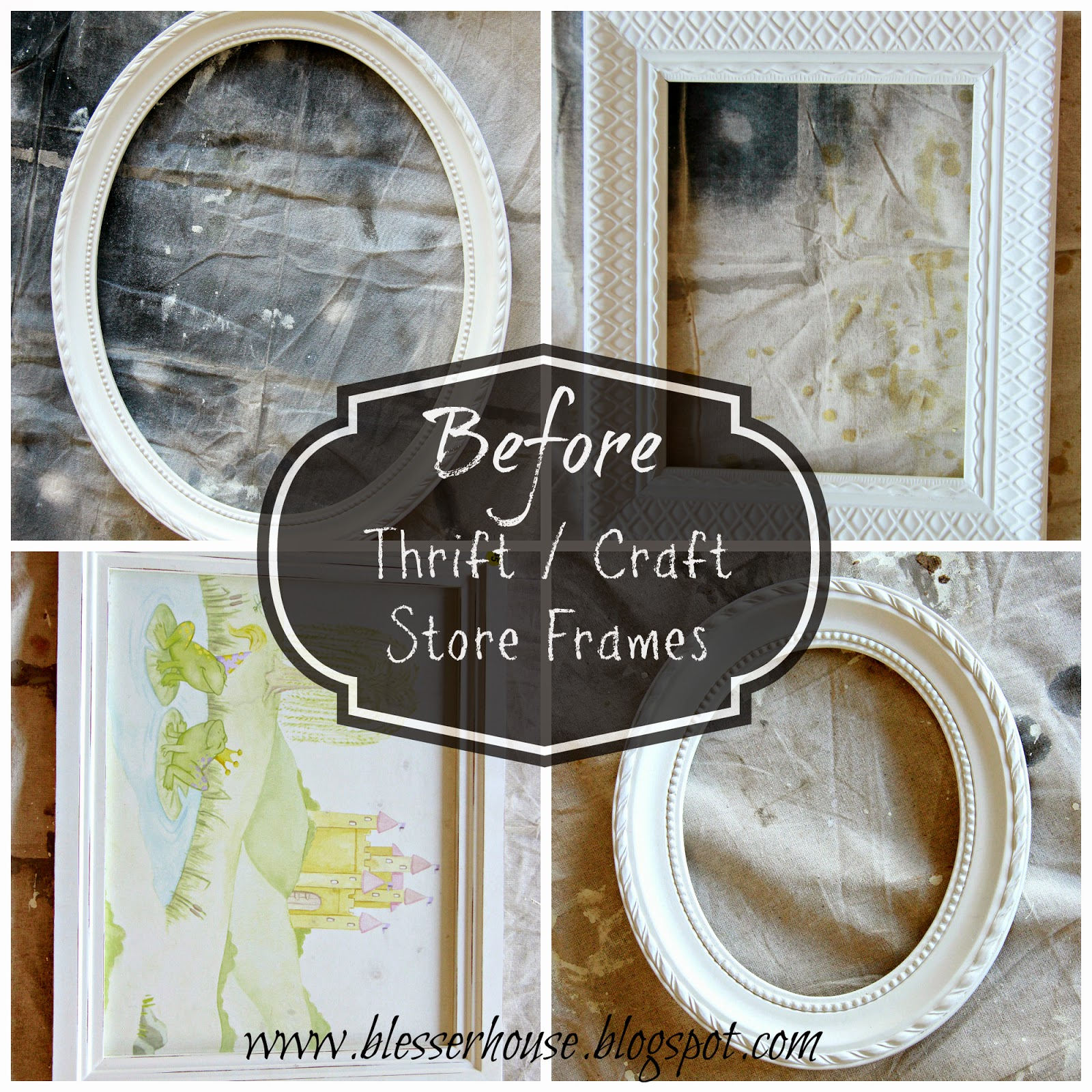 I Always Check The Frame Section Of Thrift S When Visit Chose 6 Total To Distress For Our Wall 4 Thrifted And 2 From Hobby Lobby
