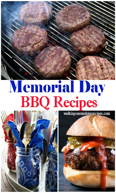 The perfect collection of easy grilled BBQ recipes for your Memorial Day celebration from Walking on Sunshine Recipes.
