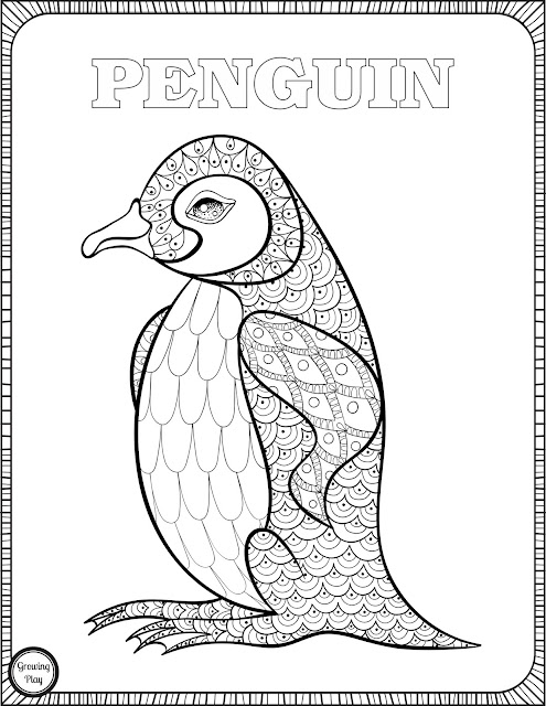Growing Play Penguin Coloring Page From Animal Coloring Pages