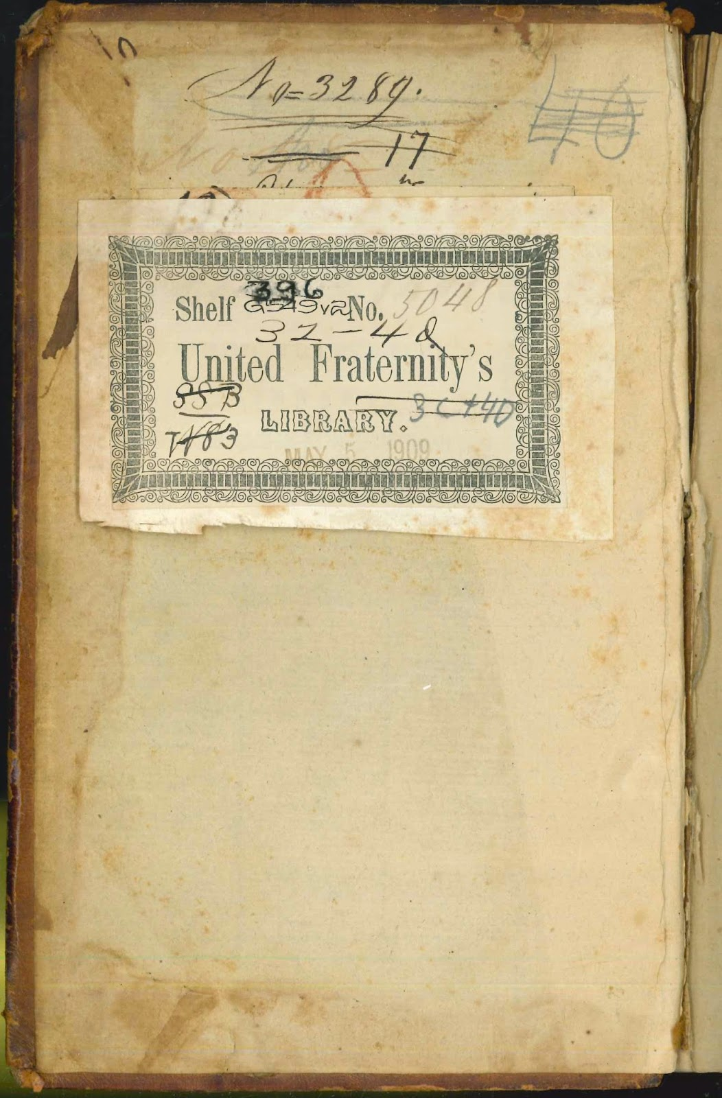 A bookplate for the United Fraternity's Library.