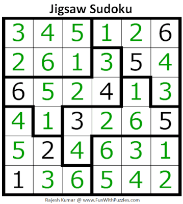 Answer of Jigsaw Sudoku Puzzle (Mini Sudoku Series #109)