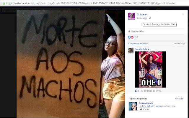 Morte aos machos. Gi Souza (https://www.facebook.com/gislainefds). Brenda Salles: Amei