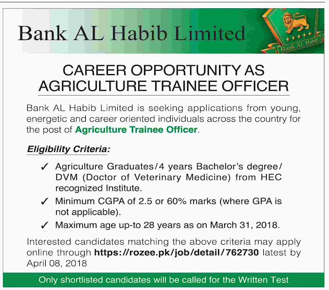 Agriculture Trainee Officer Jobs in Bank AL Habib 2018