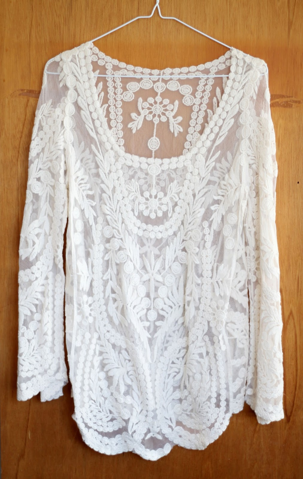 Rose Tinted Illustration: White Crochet Lace Top