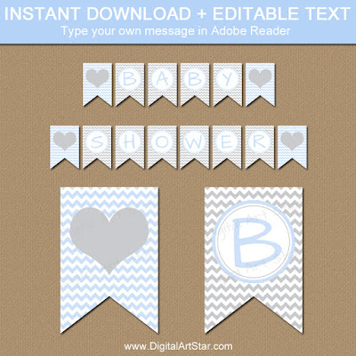 printable baby blue and gray chevron banner baby shower download