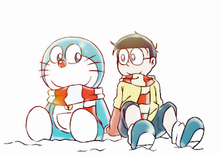 Nobita and doraemon sitting in Snow best friends forever