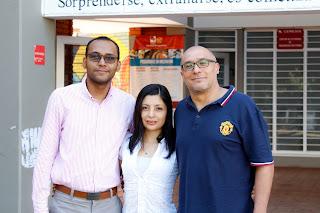 Foto: De izq. a Der. Jorge Manrique, Natali Mena, Profesor Fiderman Machuca