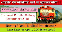 Northeast Frontier Railway Recruitment 2018– Medical Practitioner
