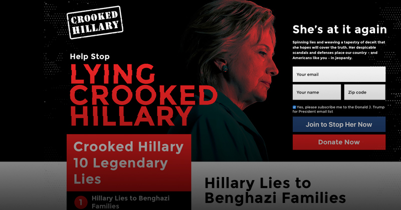trump launches lying crooked hillary website