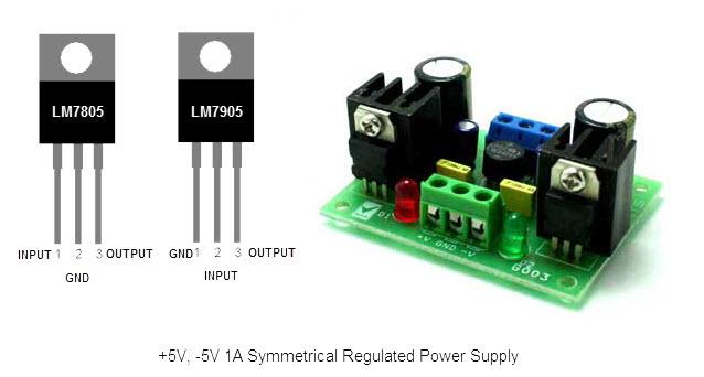 مصدر تغذية بجهد -5 و+5 فولت باستخدام 7805 و7905