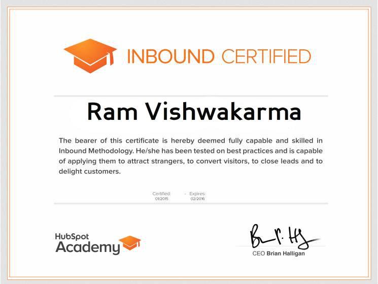 Inbound Certification - Ram Vishwakarma ~ SEO FIXING | hire ...