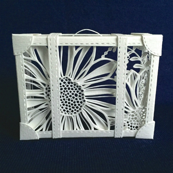 paper cut suitcase in white floral design