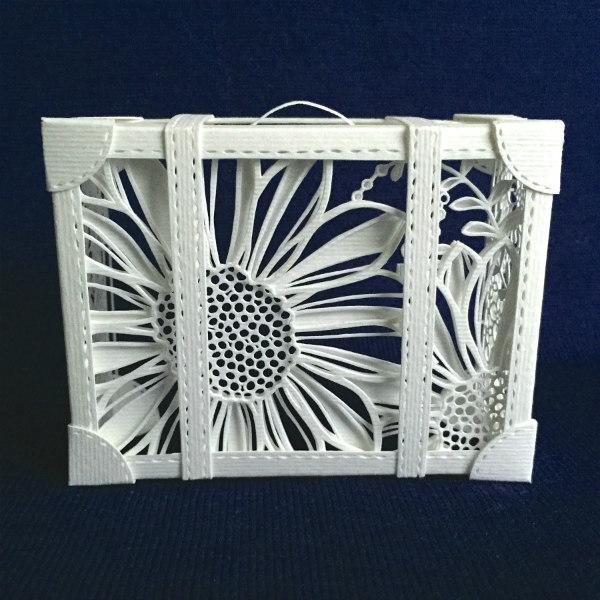 paper cut suitcase in white floral design