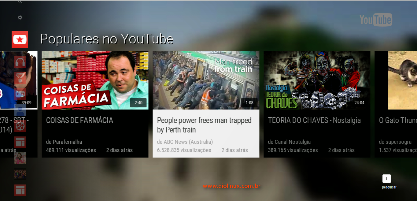 Visualização de TV no YouTube