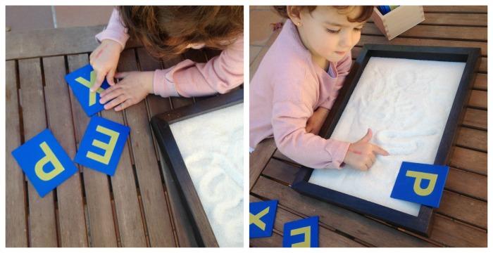letras de lija montessori para aprender a trazarlas y reconocerlas