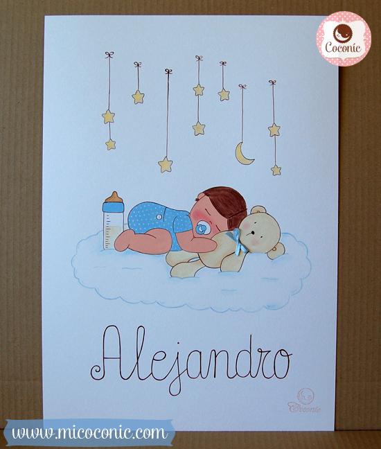 cuadro infantil lamina bebe dormido nube osito estrellas