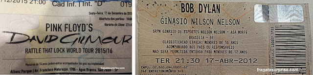 Ingressos para os shows de David Gilmour (2015) e Bob Dylan (2012)