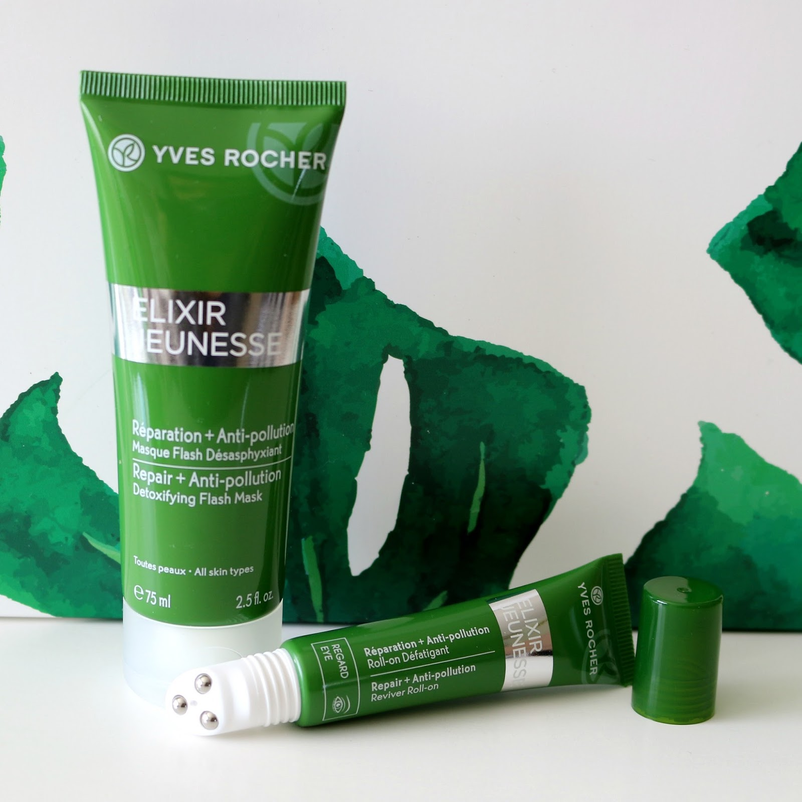 yves rocher elixir jeunesse repair anti-pollution detoxifying flash mask reviver roll-on