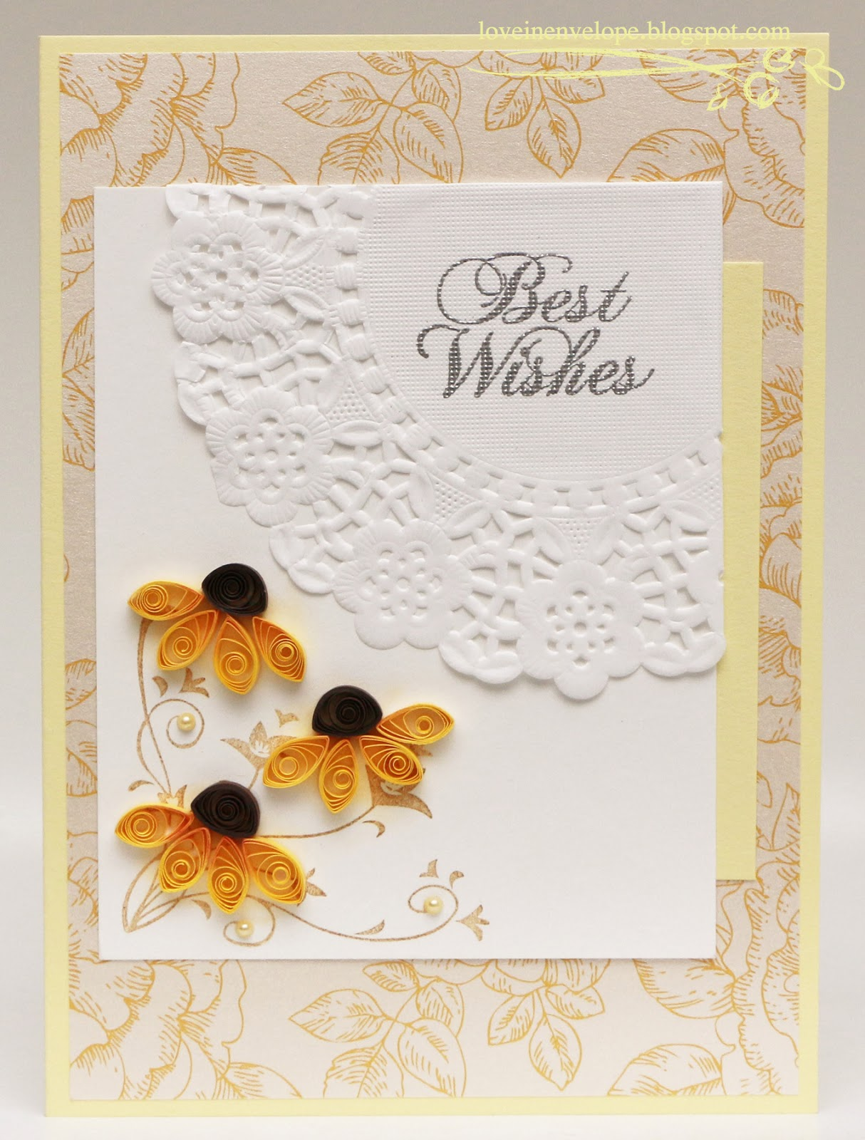 Love In Envelope: Quilling Yellow Sunflowers Best Wishes
