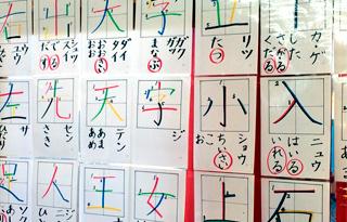 Hojas donde se muestra el orden como se escribe el Katakana