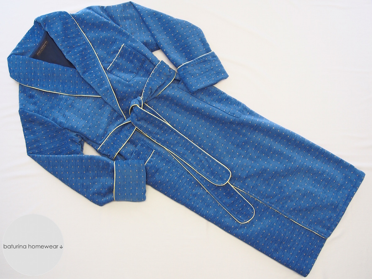 classic blue chenille dressing gown for men