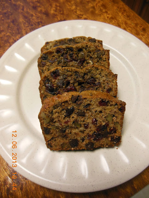 Another Banana Bread, this time dressed up with cranberries, chocolate and walnuts.