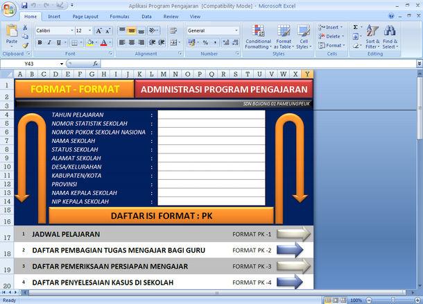 Format-Format Administrasi Program Pengajaran dengan Microoft Excel