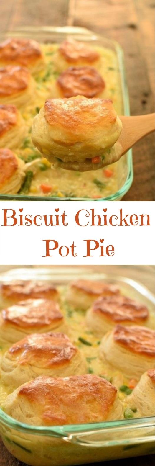 Biscuit Chicken Pot Pie #deliciousrecipe #dinner