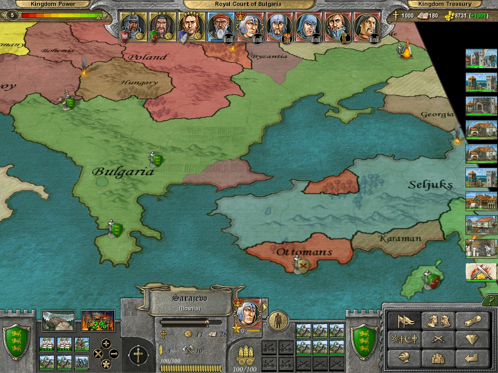 The Best Games Ever: Knights of Honor - Political Map Screen