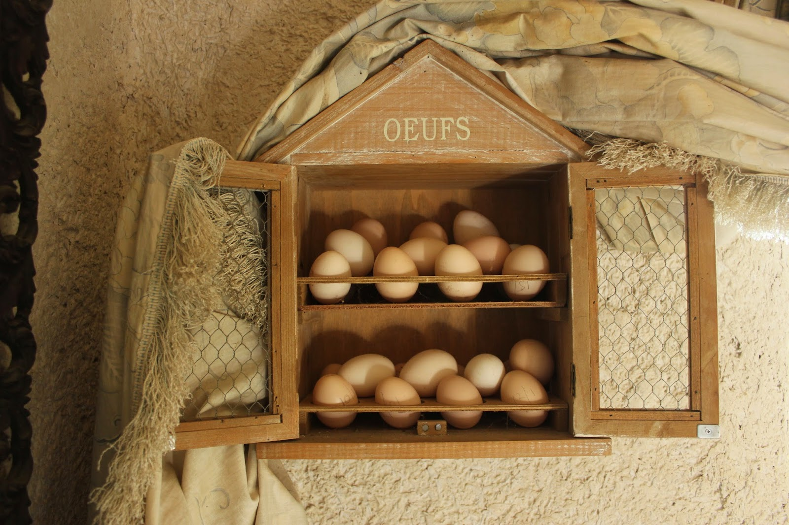 Organic eggs in a wall safe