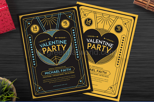 Download Classic Valentine Party Flyer PSD
