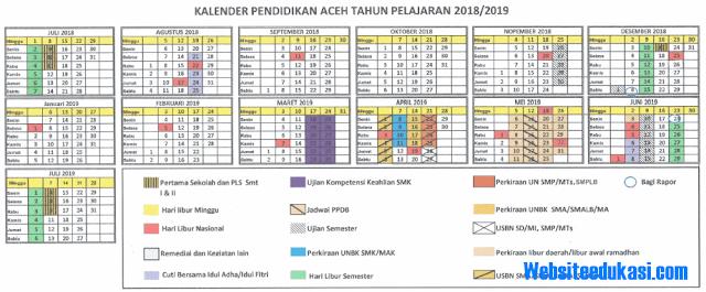 Kalender Pendidikan Provinsi Aceh Tahun 2018/2019