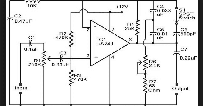 Wiring Schematic Diagram: Op-Amp 741 Guitar Preamplifier