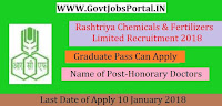 Rashtriya Chemicals and Fertilizers Limited Recruitment 2018- 20 Honorary Doctors