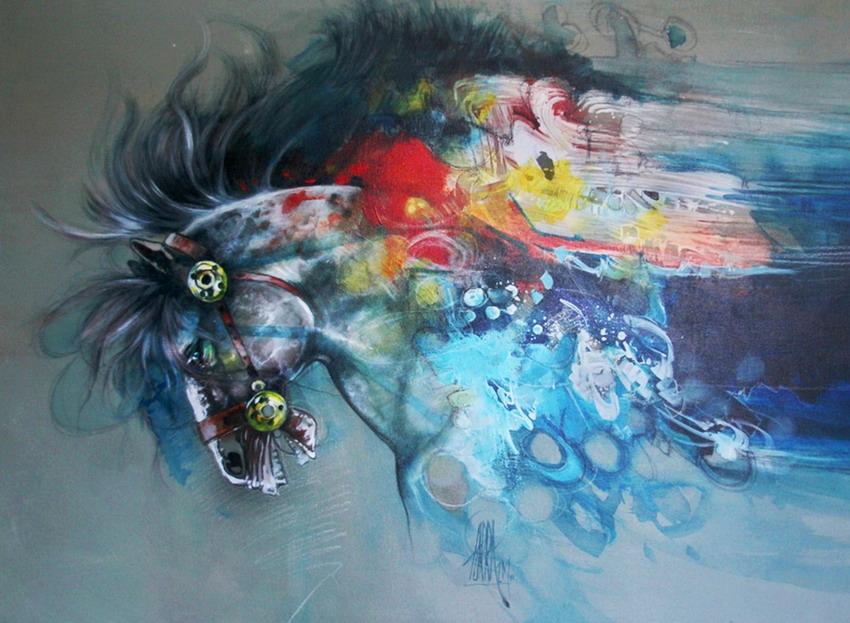 Im genes arte pinturas arte abstracto caballo en pintura - Pintar un cuadro moderno ...