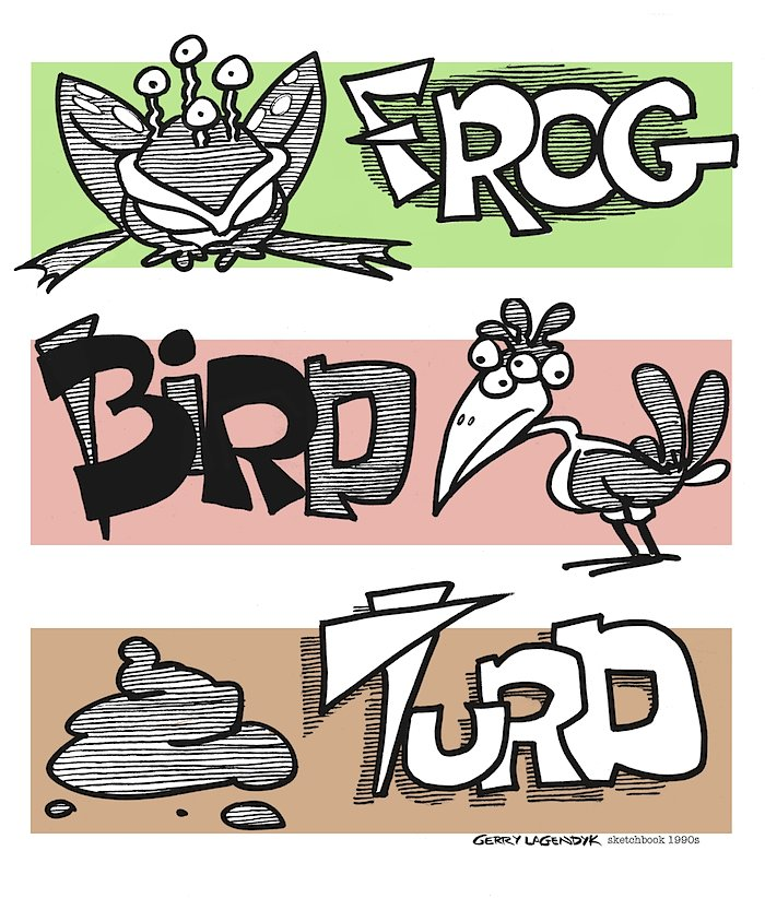 Frog Bird Turd cartoon